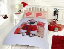 Christmas Pug Santa paws Reversible Duvet Quilt Cover Bedding Set All Sizes