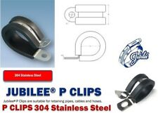 Rubber Lined P Clips Wiring Hose Cable Mounting Clamps Stainless Steel, Jubilee
