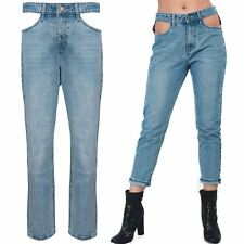 Womens Pocket Cut Out Regular Straight Fit Ladies Trouser Faded Denim Jean Pants