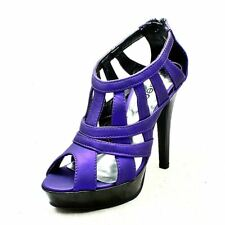 Ladies pearlised open toe strappy high heel shoes / sandals