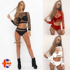 Womens Sexy 2 Pc Fishnet Long Sleeve Top Beach Lingerie Lapdance Bodysuit Set