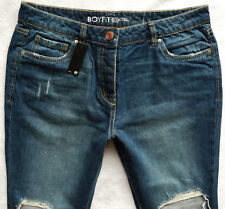 BNWT NEXT Relaxed Boyfit navy tapered mid rise knee rips ankle grazers jeans P