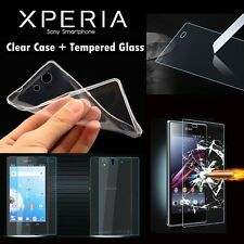 CLEAR GEL CASE & TEMPERED GLASS SCREEN PROTECTOR FOR ALL SONY EXPERIA XPERIA