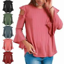 Womens Frill Cold Cut Out Shoulder Bell Sleeve Peplum Ruffle Ladies Ribbed Top