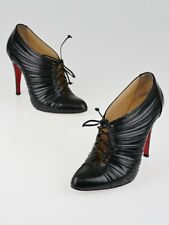 $1095 NEW Christian Louboutin INVERNESS 100 Boots Leather Black Lace Up Shoes 37