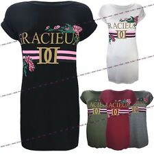 Womens Ladies Gracieux Slogan Printed Stripe Flower Side Slit Split T-shirt Top