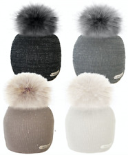 LADIES FASHION GORGEOUS LUREX METALLIC BEANIE HAT WITH FAUX FUR POM POM SKI WARM