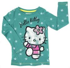 filles Hello Kitty Haut manches longues trendy vert chaton avec strass noeud