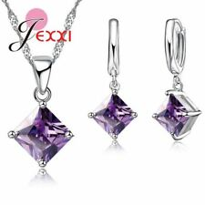 Women Jewelry Set Necklace Gift Square Shape Crystal Silver Pendant Earring Set