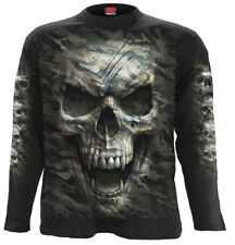 Spiral Camo-Skull, Longsleeve T-Shirt Black|Army|Camouflage|Skulls|Death