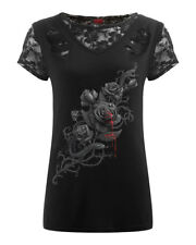 Spiral Fatal Attraction, 2In1 Ripped Black Lace Top RRP £21.99|Roses