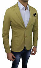 VESTE HOMME A. GILLES MADE IN ITALY JAUNE MOUTARDE SLIM FIT MOULANT COTON