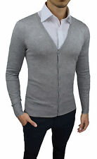PULL CARDIGAN POUR HOMME DIAMANT CASUAL GRIS CLAIR BOUTONS PULL GOLFINO
