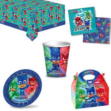 PJ Masks Birthday Party Tableware - Tablecover Plates Napkins Cups + Lunch Boxes
