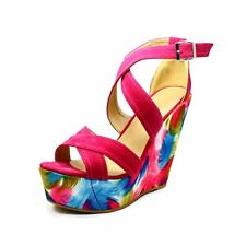 Fuchsia Pink strappy HIgh heel platfrom wedge sandals / shoes with floral wedge