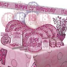 AGE 18 PINK SILVER GLITZ PARTY RANGE DECORATIONS TABLEWARE HAPPY BIRTHDAY AGE
