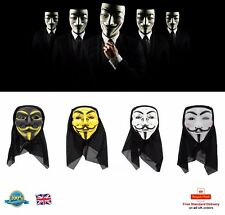 HACKER MASK Halloween Mask Vendetta ANONYMOUS MASK Guy Fawkes Mask 4 Colours