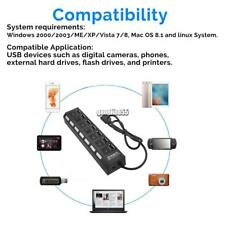 7 Port USB 2.0 Black Hub with High Speed Adapter ON/OFF Switch for Laptop-PC UK