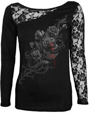 Spiral Fatal Attraction, Lace One Shoulder Top Black|Roses|Blood|Snake|Tribal