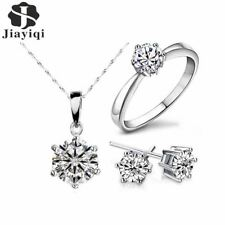 Women Ring Necklace Set Cubic Zircon Party Jewelry Statement Silver Stud Earring
