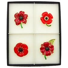 NEW SET 4 POPPY PIN RED BROOCH CRYSTAL RED VINTAGE ENAMEL BADGES LARGE GIFT BOX