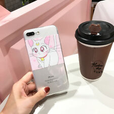 Cute Cartoon Moon Cat Transparent Clear Soft Case Cover for iPhone 7 7 Plus 6 6S