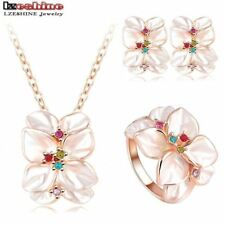 Necklace Gold Flower Crystal Enamel Earring Anniversary Rings Jewelry Sets Gift