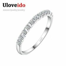 Women Charms Ring Copper Rhinestones Silver Plated Wedding Rings Jewelry Gift