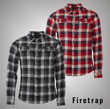 Mens Firetrap Chest Pockets Long Sleeve Checked Shirt Cotton Top Size S-XXL