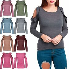 Womens Cold Cut Out Shoulder Marl Knitted Ladies Peplum Ruffle Frill T Shirt Top