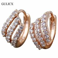 Crystal Stud Earring Cubic Zircon Gold Plated Round Hoop Earrings Jewelry Gift