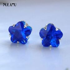 Women Earrings Blue Stud Earring Simulated Flower Charms Party Jewelry Gift Sale