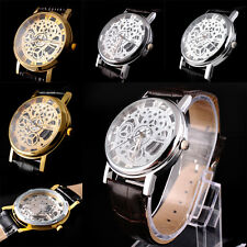 Skeleton Mens Women Brown Leather Band Stainless Steel Gold Wrist Watch NEW