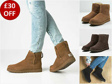New UGG Brown BNIB £165 Leather Fur Suede Classic CORY Ankle Women's Shoes Boots