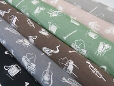 MUSIC NOTES Designer Tapestry Quality Upholstery Curtain Fabric Geometric