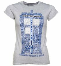 Official Women's Grey Marl Doctor Who TARDIS Quotes T-Shirt