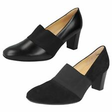 LADIES PETER KAISER BLACK LEATHER SLIP ON ELASTICATED FRONT COURT SHOES DORNA
