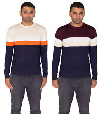 HOMMES RAYURES PULL SWEATER TRICOT MANCHES LONGUES COL ROND PULL