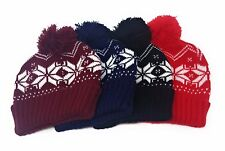 Festive Bobble Beanie Hat Knitted Snowflake Winter Woolly Turn Up Christmas Xmas