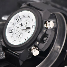 Men Sports Watch Wristwatch Quartz Watch Rubber Strap Date Time Display Fashion