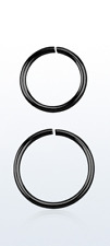 925 Silver Seamless Continuous Black Coated Nose Hoop Ring (1mm) 8mm or 10mm