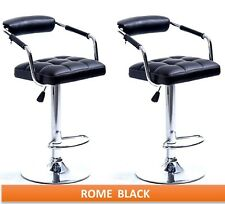 2 x BLACK / GREY / CHROME ROME GAS LIFT BAR STOOLS, BREAKFAST KITCHEN BAR ETC