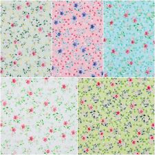 Pink Green White Turquoise Floral Polycotton Shabby Chic Fabric Quilting Craft