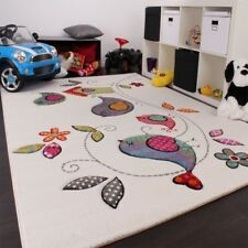 Kids Bedroom Rug Modern Quality Carpet Lovely Bird Design Cream Orange BlueGreen