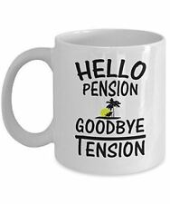 Retirement Mug - Hello Pension Tension Gifts - Ceramic Cup For Coffee And Tea