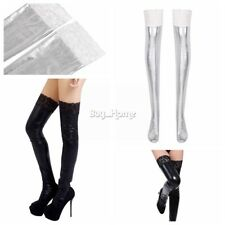 New Women Attractive Patent Leather Thigh-Highs Lace-up Long Lace Stockings Pair