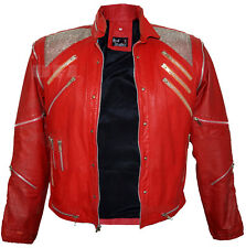 MJ Mens Michael Jackson Beat It Thriller King of Pop Music Red Leather Jacket
