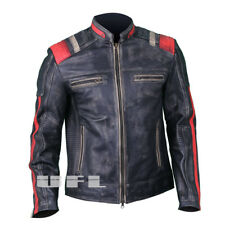 Cafe Racer Mens Vintage Motorcycle Biker Retro Black Distressed Leather Jacket