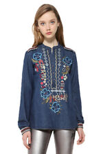 Desigual Blue Denim Azul Blouse Folk Embroidery XS-XXL UK 8-18 RRP �84
