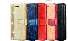 Luxury Bling Glitter Leather Flip Case Wallet Cover for Samsung Galaxy Phones